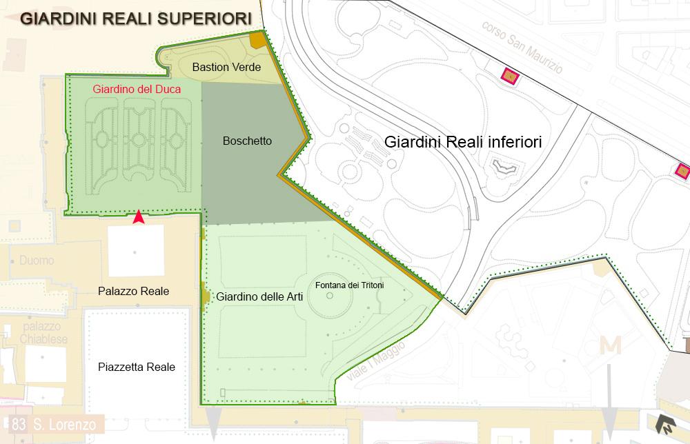Pianta dei Giardini Reali di Torino