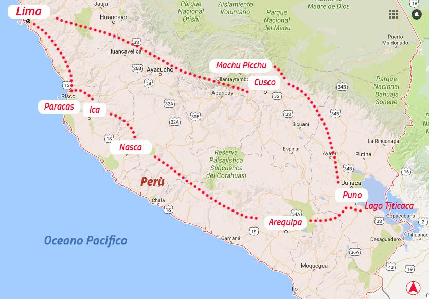 Perù-Sud America-America Latina-mappa tour viaggio di nozze-tappe luna di miele